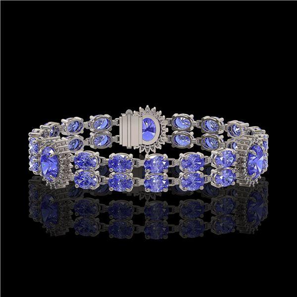 17.83 ctw Tanzanite & Diamond Bracelet 14K White Gold - REF-280A2N