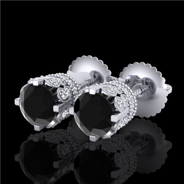 1.75 ctw Fancy Black Diamond Art Deco Stud Earrings 18k White Gold - REF-109H3R