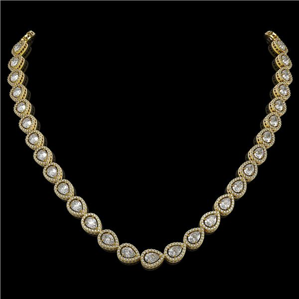 28.74 ctw Pear Cut Diamond Micro Pave Necklace 18K Yellow Gold - REF-3951G8W