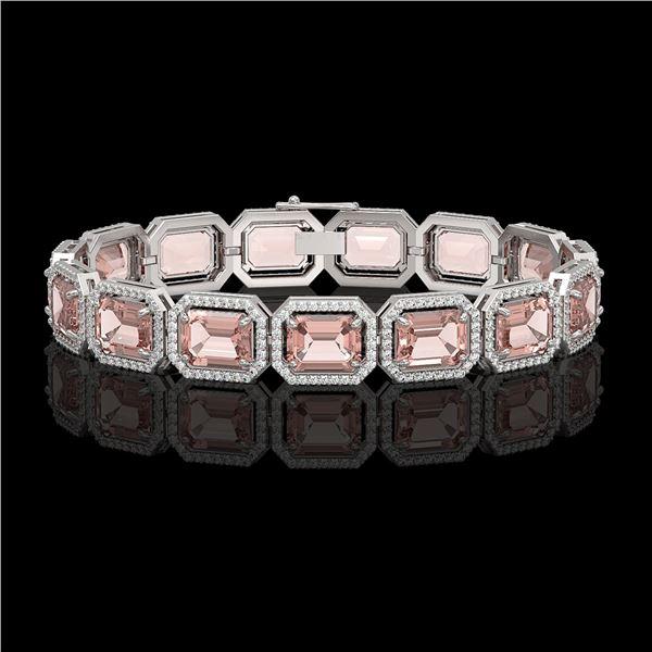 37.11 ctw Morganite & Diamond Micro Pave Halo Bracelet 10k White Gold - REF-787H3R