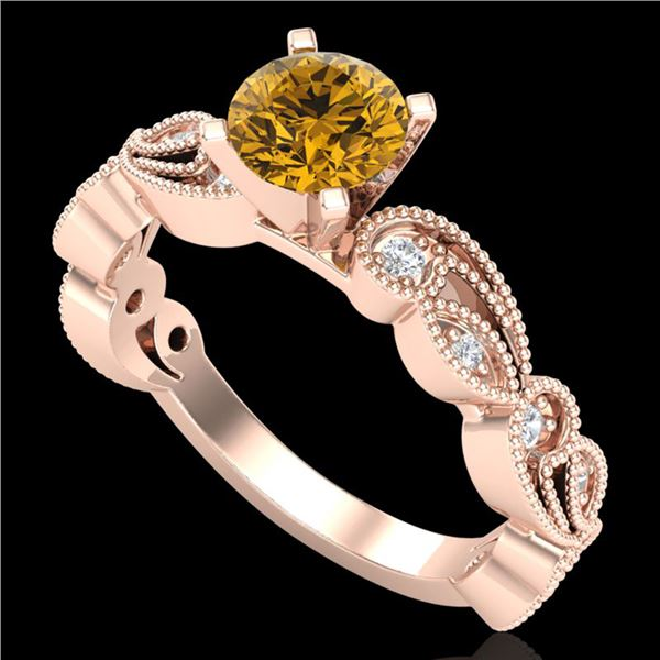 1.01 ctw Intense Fancy Yellow Diamond Art Deco Ring 18k Rose Gold - REF-143F6M