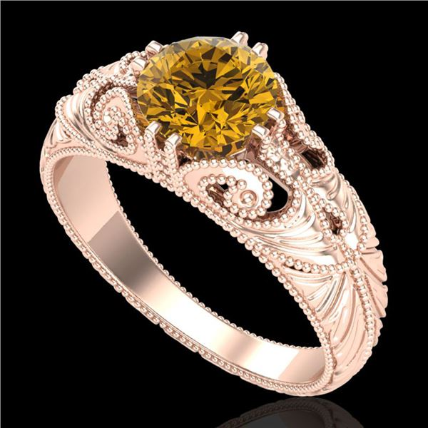 1 ctw Intense Fancy Yellow Diamond Art Deco Ring 18k Rose Gold - REF-263X6A