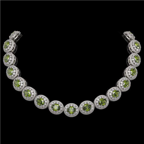 99.35 ctw Tourmaline & Diamond Victorian Necklace 14K White Gold - REF-2947W8H