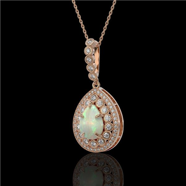 4.14 ctw Certified Opal & Diamond Victorian Necklace 14K Rose Gold - REF-139X3A