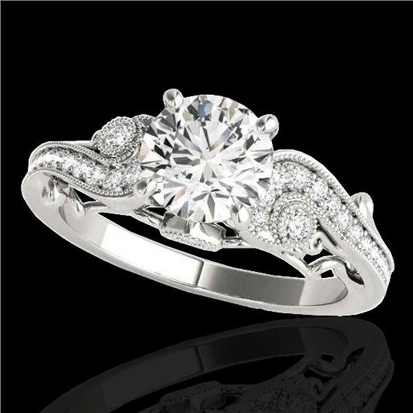 1.25 ctw Certified Diamond Solitaire Antique Ring 10k White Gold - REF-197G8W