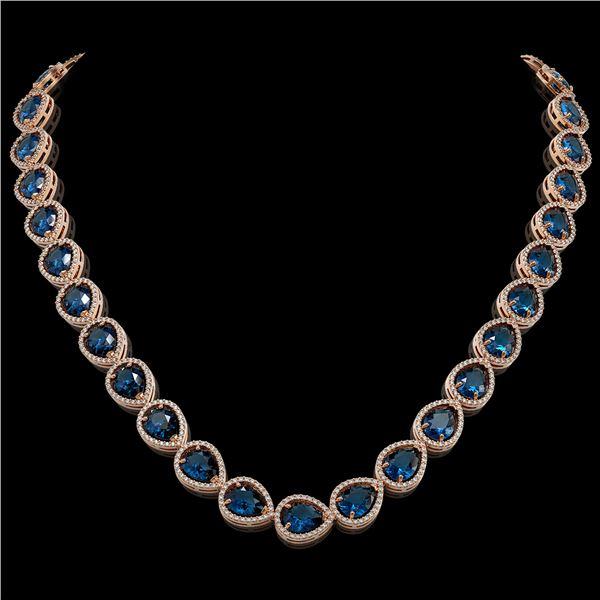 44.8 ctw London Topaz & Diamond Micro Pave Halo Necklace 10k Rose Gold - REF-625Y3X