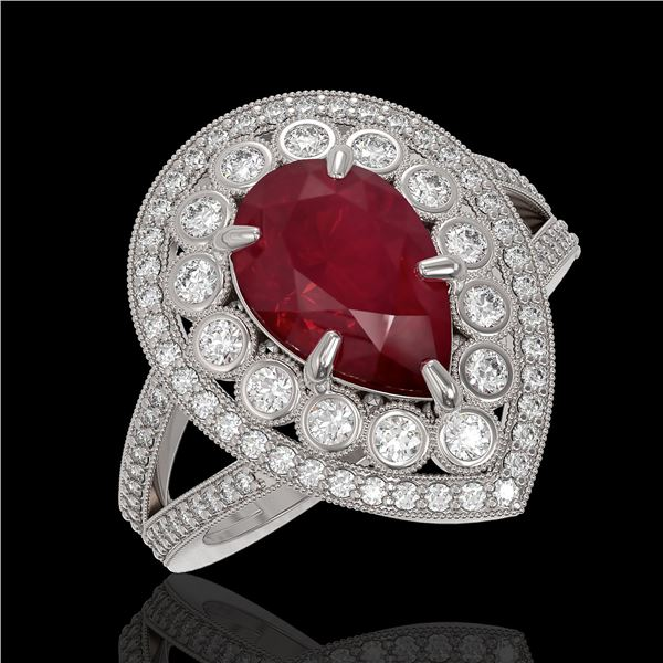 5.12 ctw Certified Ruby & Diamond Victorian Ring 14K White Gold - REF-161X8A