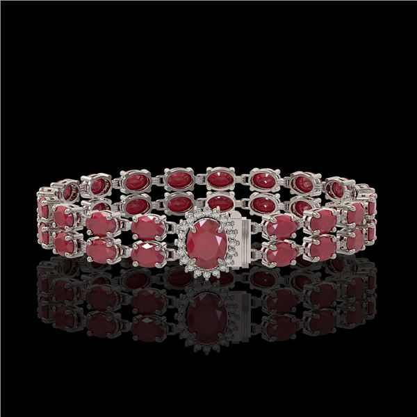 19.57 ctw Ruby & Diamond Bracelet 14K White Gold - REF-263X6A