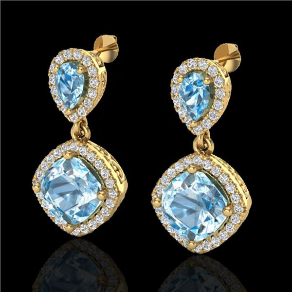 7 ctw Sky Blue Topaz & Micro VS/SI Diamond Earrings 10k Yellow Gold - REF-79R3K