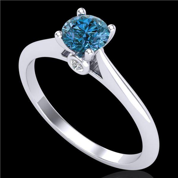 0.56 ctw Fancy Intense Blue Diamond Art Deco Ring 18k White Gold - REF-61A4N