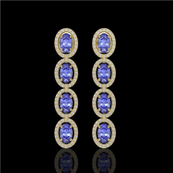 6.09 ctw Tanzanite & Diamond Micro Pave Halo Earrings 10k Yellow Gold - REF-143Y6X