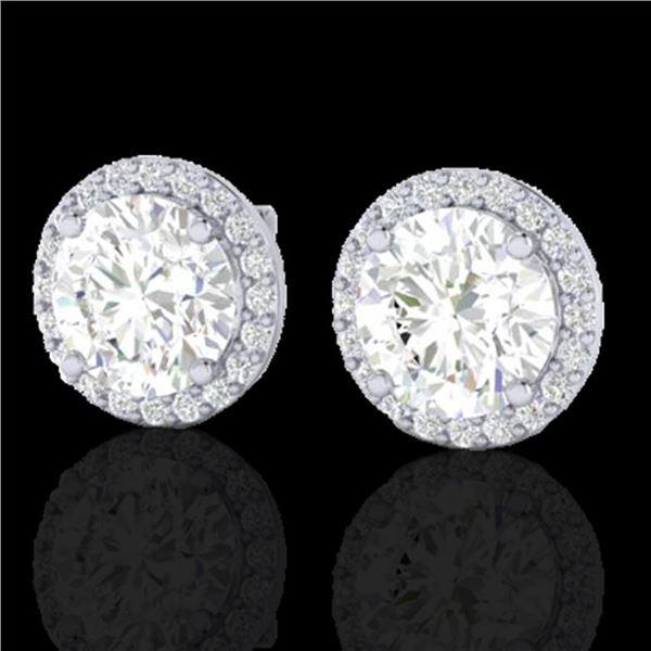 3.50 ctw Halo VS/SI Diamond Micro Pave Earrings 18k White Gold - REF-834R5K