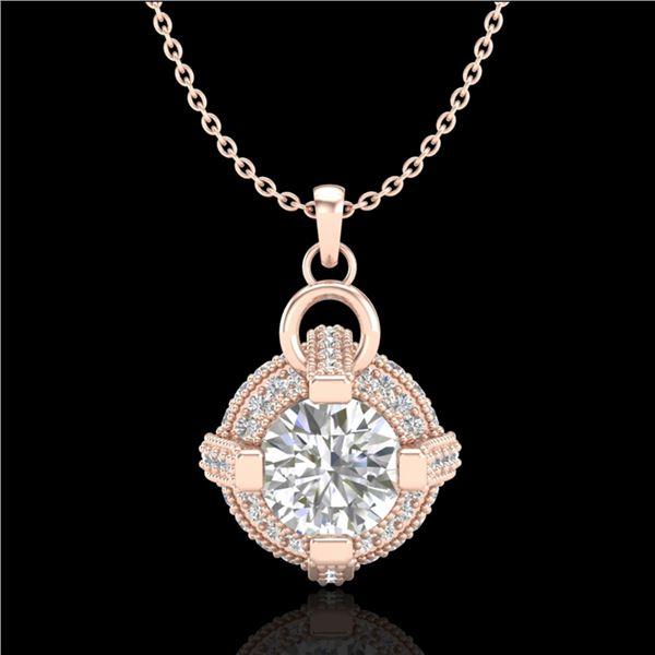 1.57 ctw VS/SI Diamond Micro Pave Stud Necklace 18k Rose Gold - REF-229N3F