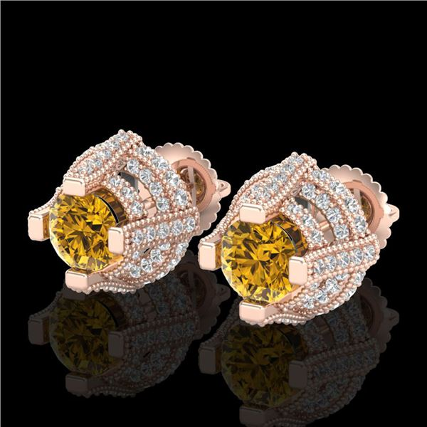 2.75 ctw Intense Fancy Yellow Diamond Micro Pave Earrings 18k Rose Gold - REF-263W6H