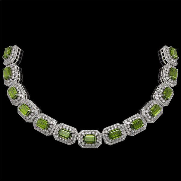 130.05 ctw Tourmaline & Diamond Victorian Necklace 14K White Gold - REF-3619R6K