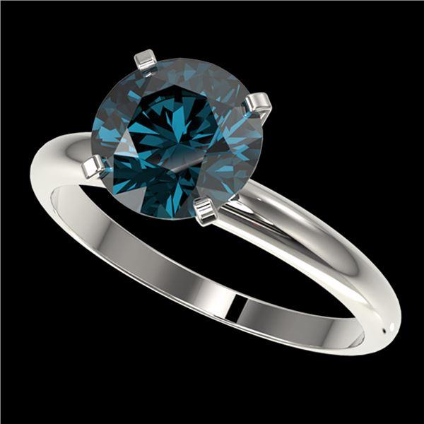 2.50 ctw Certified Intense Blue Diamond Engagment Ring 10k White Gold - REF-472M5G