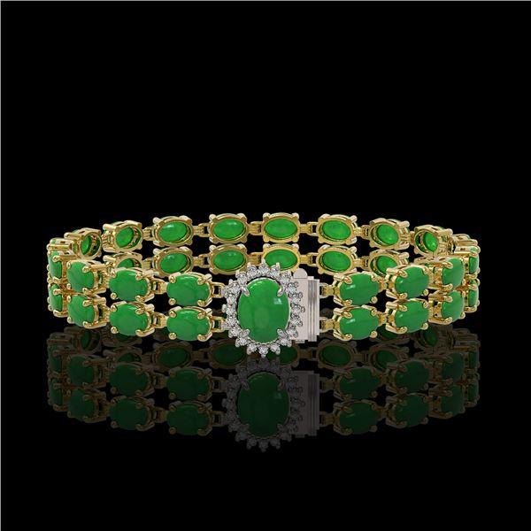 29.82 ctw Jade & Diamond Bracelet 14K Yellow Gold - REF-218K2Y