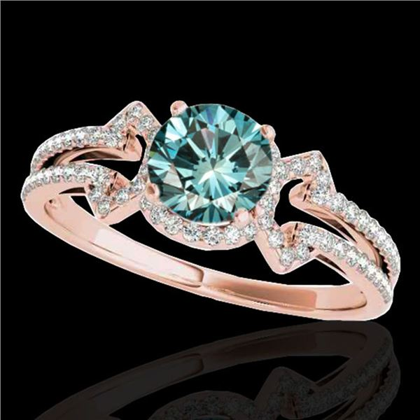 1.36 ctw SI Certified Fancy Blue Diamond Solitaire Ring 10k Rose Gold - REF-126Y8X