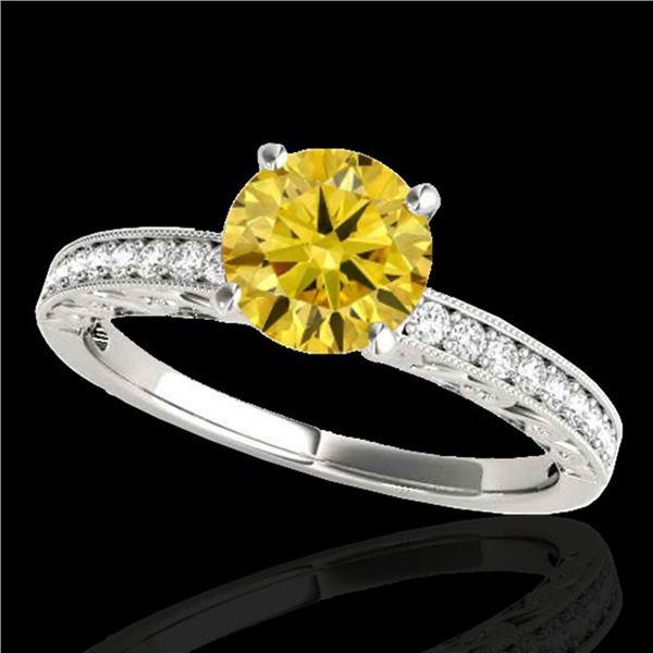 1.18 ctw Certified SI Intense Yellow Diamond Antique Ring 10k White Gold - REF-190H9R