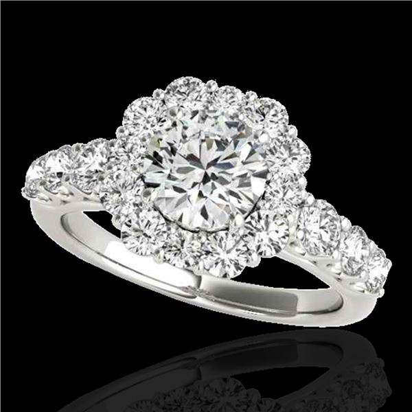 2.25 ctw Certified Diamond Solitaire Halo Ring 10k White Gold - REF-245K5Y