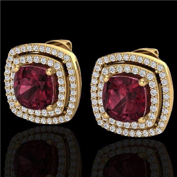 4.55 ctw Garnet & Micro Pave VS/SI Diamond Earrings 18k Yellow Gold - REF-104G9W