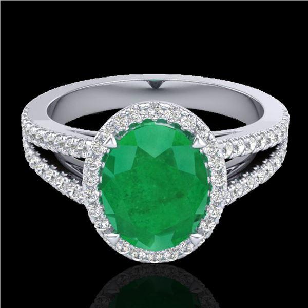 3 ctw Emerald & Micro VS/SI Diamond Halo Solitaire Ring 18k White Gold - REF-83A6N