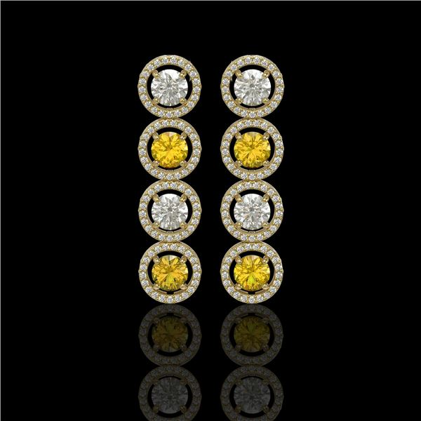 5.50 ctw Canary & Diamond Micro Pave Earrings 18K Yellow Gold - REF-592F3M