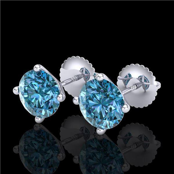 2.5 ctw Fancy Intense Blue Diamond Art Deco Earrings 18k White Gold - REF-265M9G