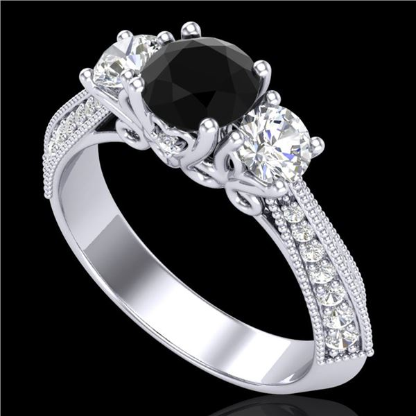 1.81 ctw Fancy Black Diamond Art Deco 3 Stone Ring 18k White Gold - REF-180Y2X