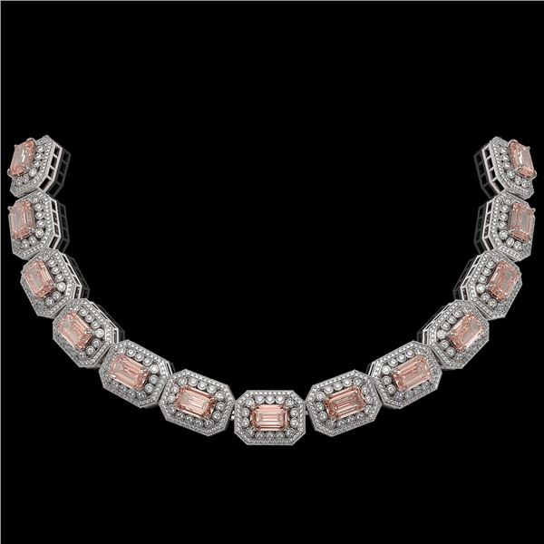 117.15 ctw Morganite & Diamond Victorian Necklace 14K White Gold - REF-4065N3F