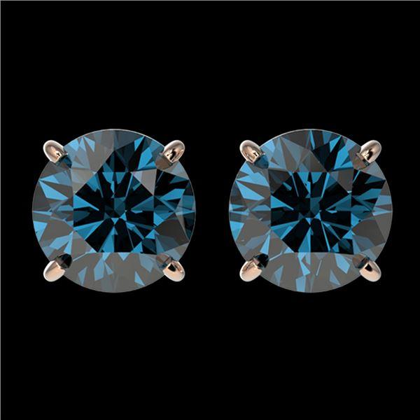 2.11 ctw Certified Intense Blue Diamond Stud Earrings 10k Rose Gold - REF-181G6W