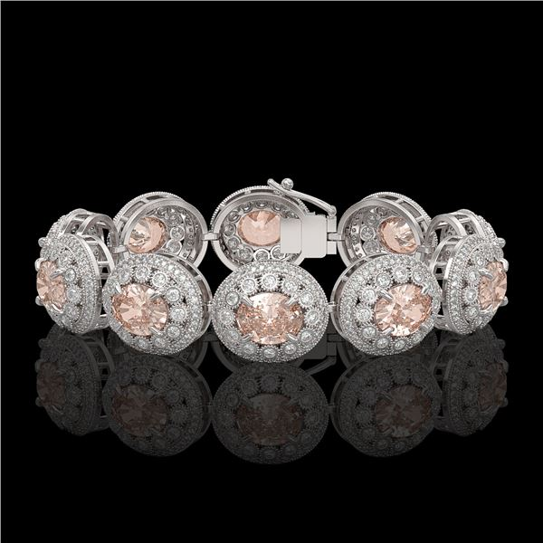 40.92 ctw Morganite & Diamond Victorian Bracelet 14K White Gold - REF-1709Y3X