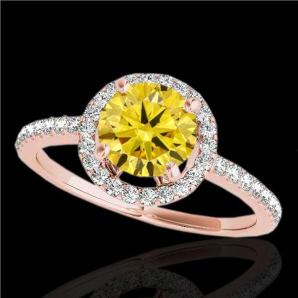 1.4 ctw Certified SI/I Fancy Intense Yellow Diamond Ring 10k Rose Gold - REF-190F9M