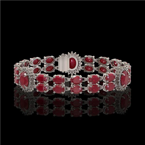 20.99 ctw Ruby & Diamond Bracelet 14K White Gold - REF-263K6Y