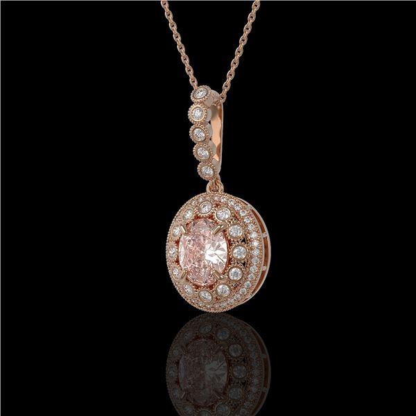 3.92 ctw Morganite & Diamond Victorian Necklace 14K Rose Gold - REF-167A5N