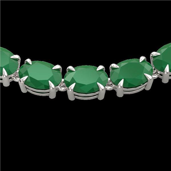 68 ctw Emerald Eternity Designer Necklace 14k White Gold - REF-418G2W