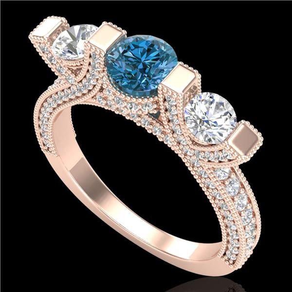 2.3 ctw Fancy Intense Blue Diamond Micro Pave Ring 18k Rose Gold - REF-236R4K