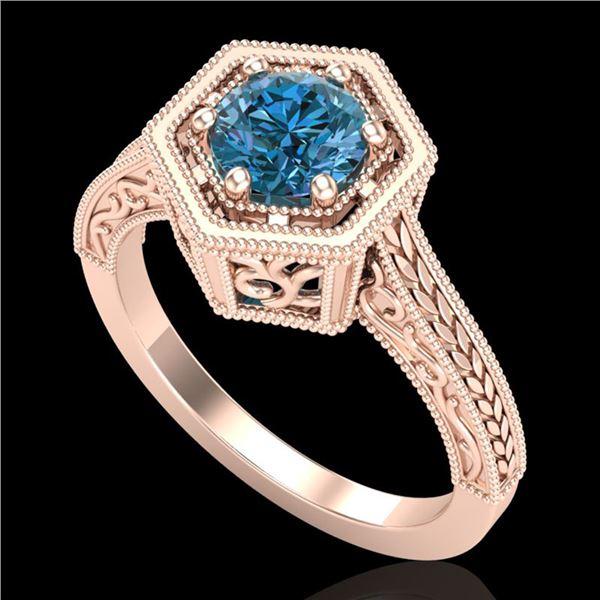 0.77 ctw Fancy Intense Blue Diamond Art Deco Ring 18k Rose Gold - REF-130N9F