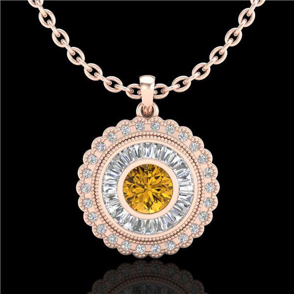 2.11 ctw Intense Fancy Yellow Diamond Art Deco Necklace 18k Rose Gold - REF-281X8A