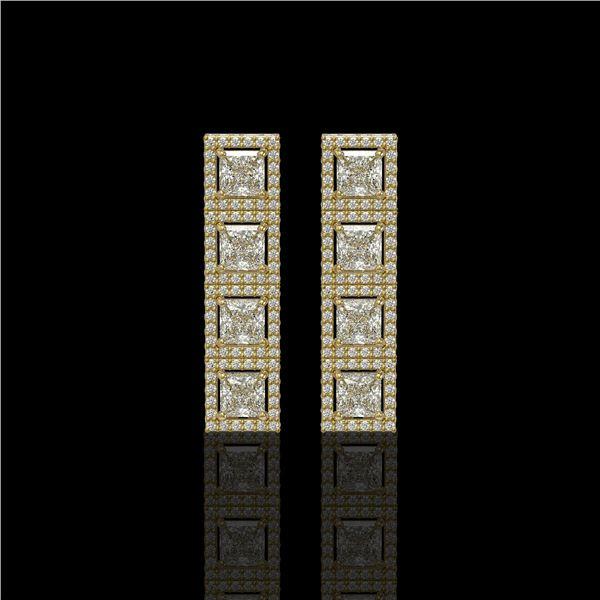 5.31 ctw Princess Cut Diamond Micro Pave Earrings 18K Yellow Gold - REF-733K8Y