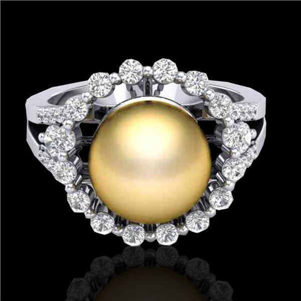 0.83 CT Micro Pave VS/SI Diamond & Golden Pearl Ring 18k White Gold - REF-85M5G