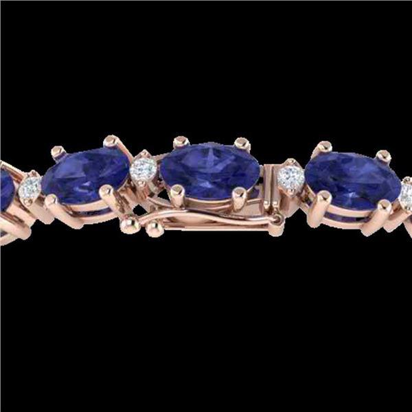 15 ctw Tanzanite & VS/SI Diamond Eternity Bracelet 10k Rose Gold - REF-143G6W