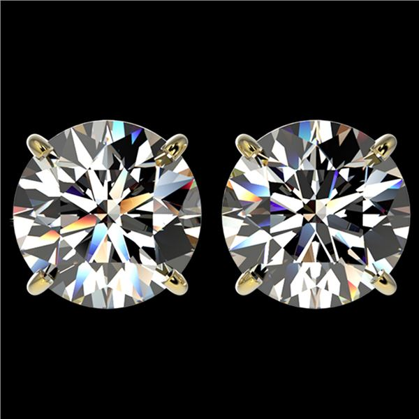 4 ctw Certified Diamond Solitaire Stud Earrings 10k Yellow Gold - REF-862M5G
