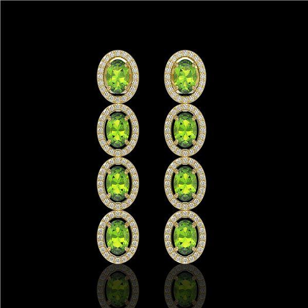 5.88 ctw Peridot & Diamond Micro Pave Halo Earrings 10k Yellow Gold - REF-143G6W