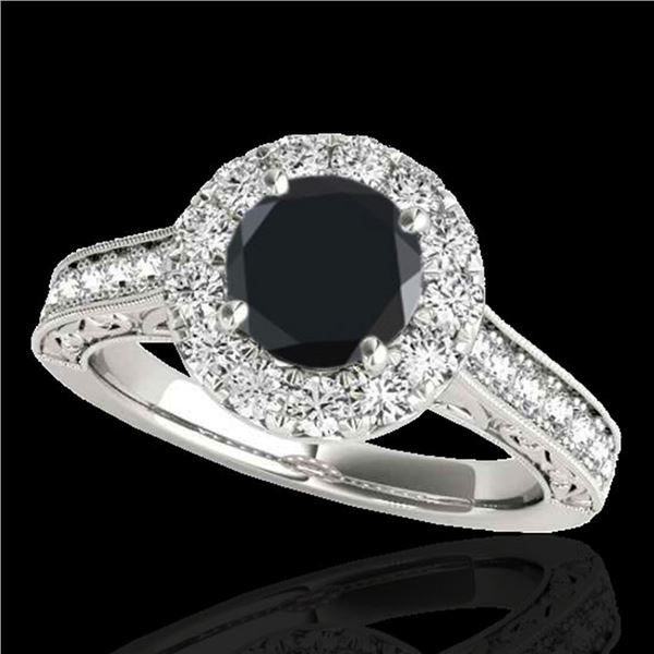 2.22 ctw Certified VS Black Diamond Solitaire Halo Ring 10k White Gold - REF-79N3F