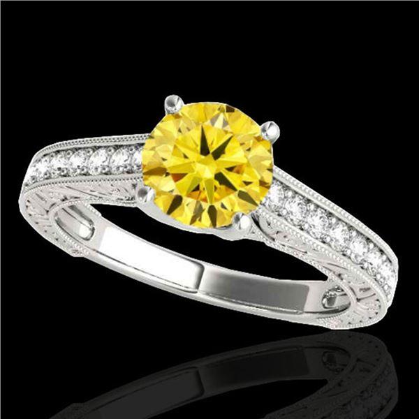 1.32 ctw Certified SI/I Fancy Intense Yellow Diamond Ring 10k White Gold - REF-184A3N