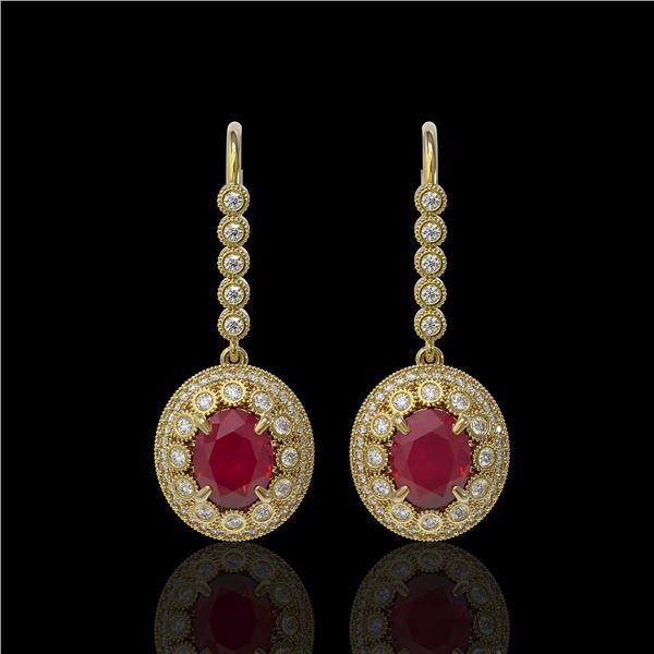 9.25 ctw Certified Ruby & Diamond Victorian Earrings 14K Yellow Gold - REF-249H6R