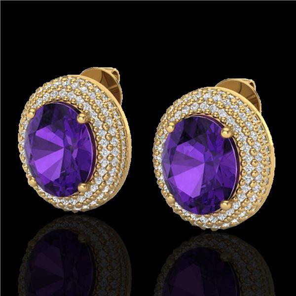 8 ctw Amethyst & Micro Pave VS/SI Diamond Earrings 18k Yellow Gold - REF-150Y5X