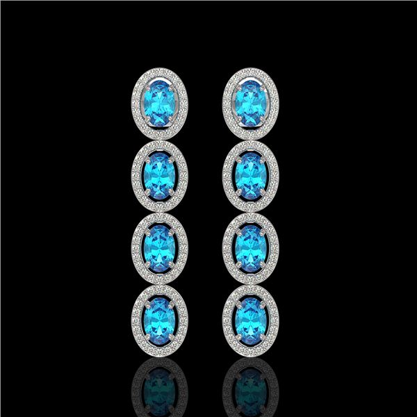 6.28 ctw Swiss Topaz & Diamond Micro Pave Halo Earrings 10k White Gold - REF-143Y6X