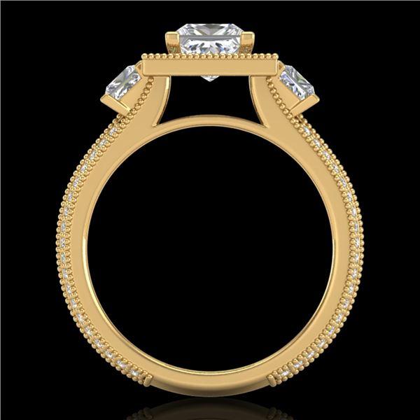 2.5 ctw Princess VS/SI Diamond Micro Pave 3 Stone Ring 18k Yellow Gold - REF-527A3N